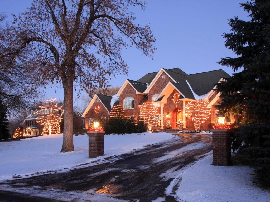 Christmas lighting on house