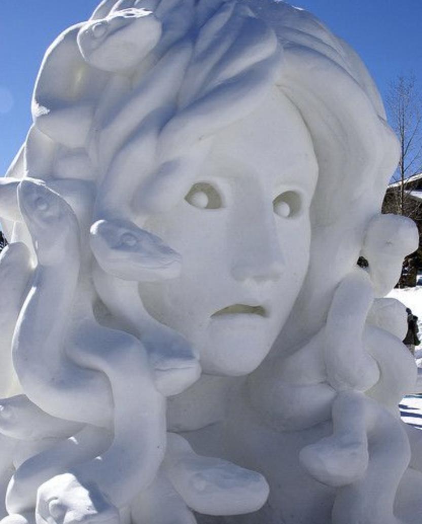 Medusa snow sculpture