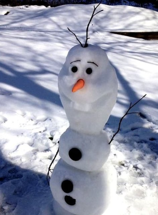 Olaf snow sculpture