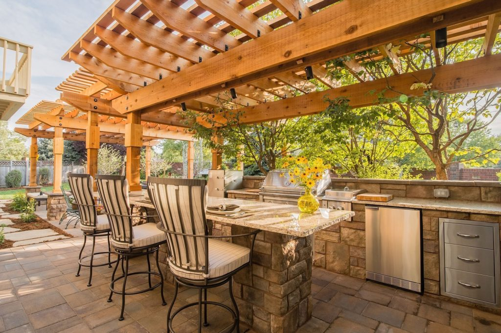 Outdoor Kitchen and Hardscape with Gas Firepit