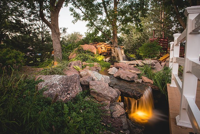 Outdoor Pond with Lights