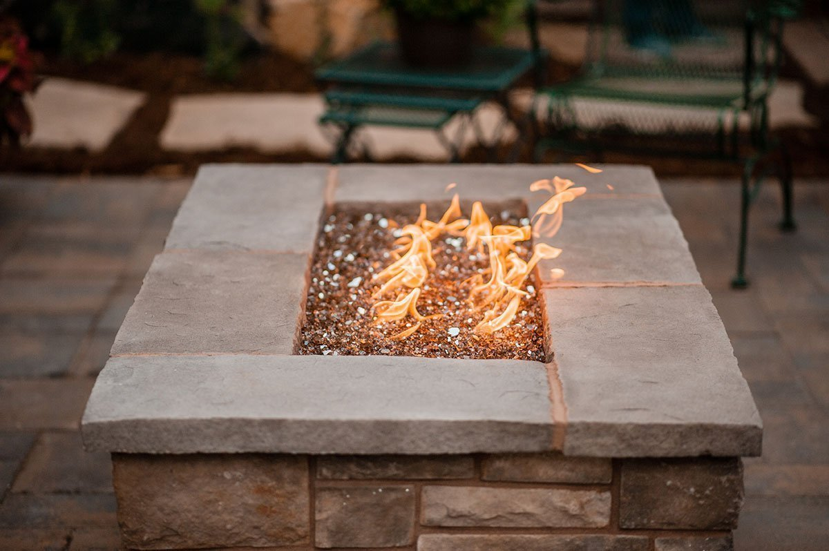 outdoor gas fire pit on patio