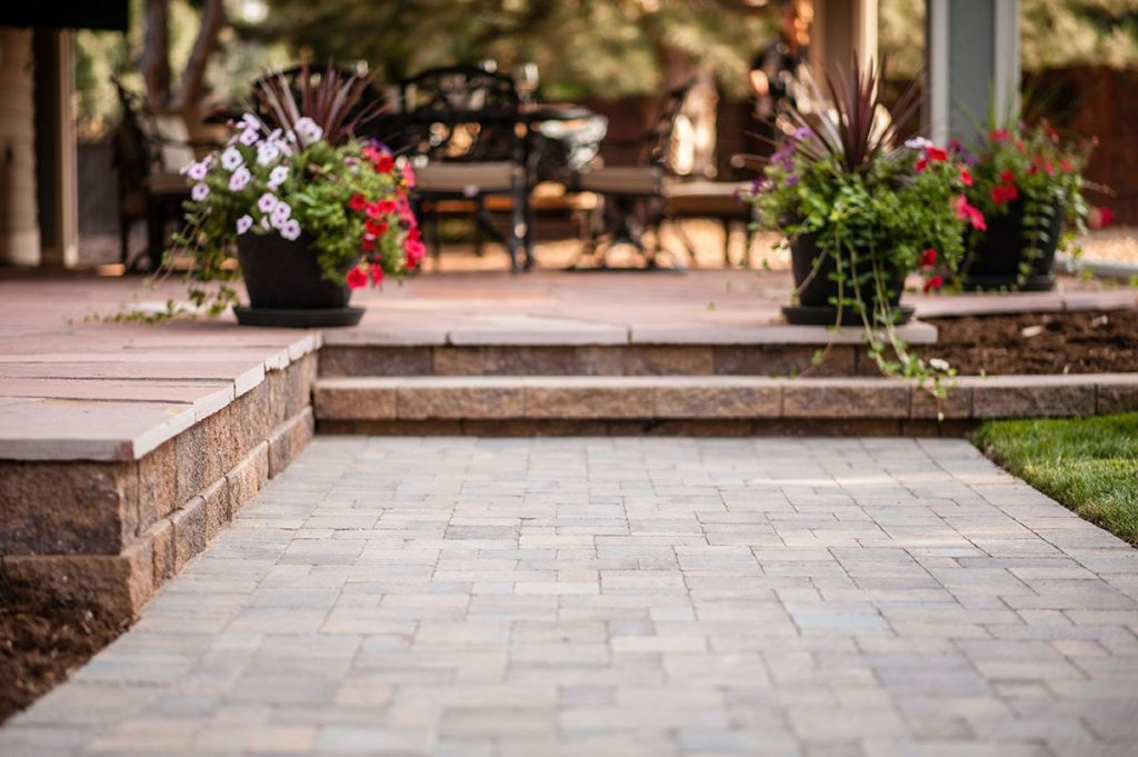 stone paver patio with steps