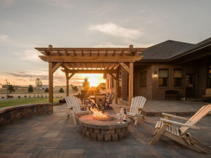 Pergola with custom fire pit