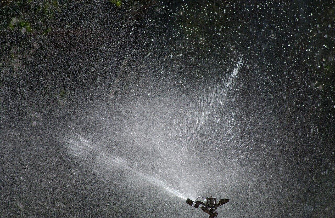 sprinklers at night